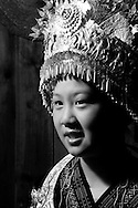 Kaili, Guizhou, China, August 10th 2007: Portrait of a 13 year old Miao girl..Photo: Joseph Feil