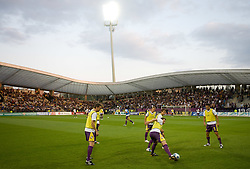 Players of Maribor at warming up before Third Round of Champions League qualifications football match between NK Maribor and FC Zurich,  on August 05, 2009, in Ljudski vrt , Maribor, Slovenia. Zurich won 3:0 and qualified to next Round. (Photo by Vid Ponikvar / Sportida)