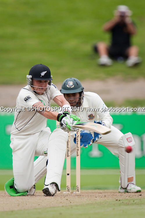 Brendon McCullum bats during day 2 of the one off test cricket match between New Zealand Black Caps and Bangladesh at Seddon Park, Hamilton, New Zealand, Tuesday 16 February 2010. Photo: Stephen Barker/PHOTOSPORT
