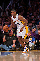 27 January 2013: Forward (15) Meta World Peace of the Los Angeles Lakers dribbles the ball up the court against the Oklahoma City Thunder during the second half of the Lakers 105-96 victory over the Thunder at the STAPLES Center in Los Angeles, CA.