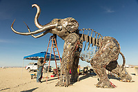 The Monumental Mammoth Build<br /> by: Girl Scout Gold Award Recipient Tahoe Mack, Mentor and Protector of Tule Springs Representative Sherri Grotheer, and artists Luis Varela-Rico and Dana Albany<br /> from: Las Vegas, NV<br /> year: 2019<br /> <br /> The Monumental Mammoth project will depict a life-sized steel Colombian mammoth skeleton collaged with metal found objects to tell the story of Tule Spring National Monument's past, present, and future. The sheer size and struggle of the mammoth's stance is a representation of the universal call to protect what the earth has given humanity. As a community, we are called together to protect the fossils of our past and the education of our future. Dana Albany and Luis Varela-Rico are pulling together the sleek elements of the interior steel structure and the intricate weavings to represents the distinctive community that is Las Vegas.It also tells the story of a rising feminine power, and shows all women of any age that anything is possible!<br /> <br /> URL: https://tulemammothproject.wordpress.com<br /> Contact: tulemammothproject@gmail.com<br /> <br /> https://burningman.org/event/brc/2019-art-installations/?yyyy=&artType=H#a2I0V000001AVtMUAW