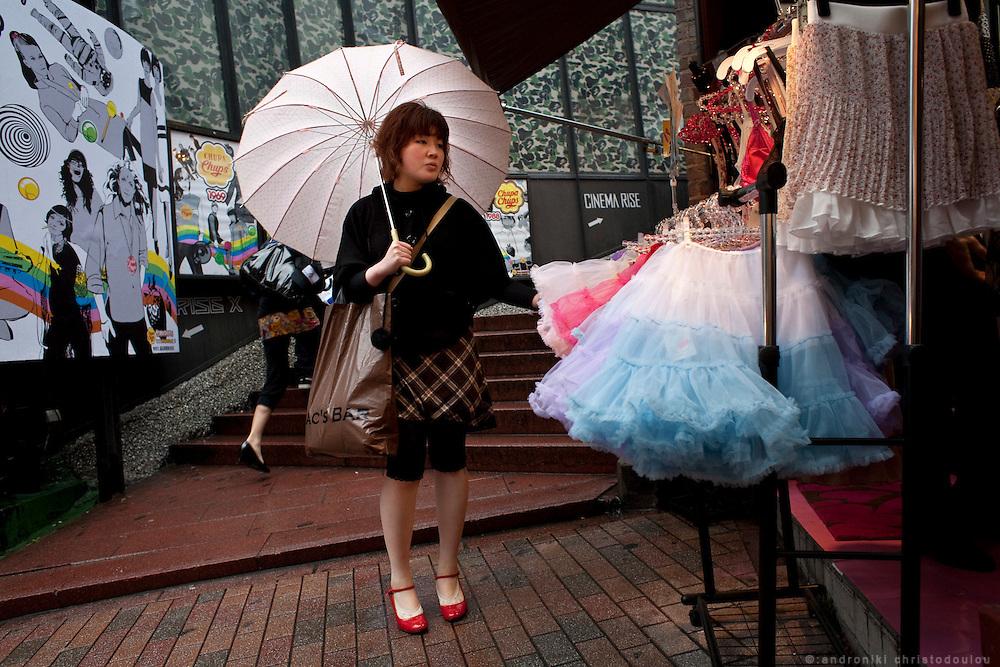 Girl shopping at Spain-zaka in Shibuya, Tokyo.