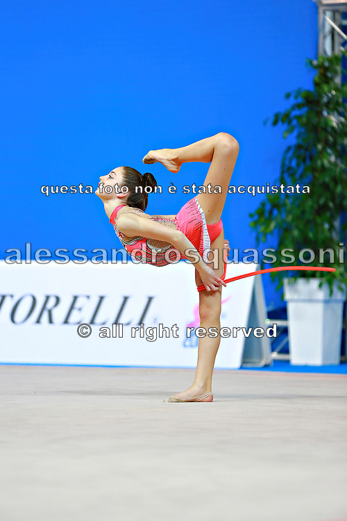 """Arbolishvili Ketevan during roperoutine at the International Tournament of rhythmic gymnastics """"Città di Pesaro"""", 01 April, 2016. Ketevan is an Azerbaijan individualistic gymnast, born in Tblisi, 2003.<br /> This tournament dedicated to the youngest athletes is at the same time of the World Cup."""