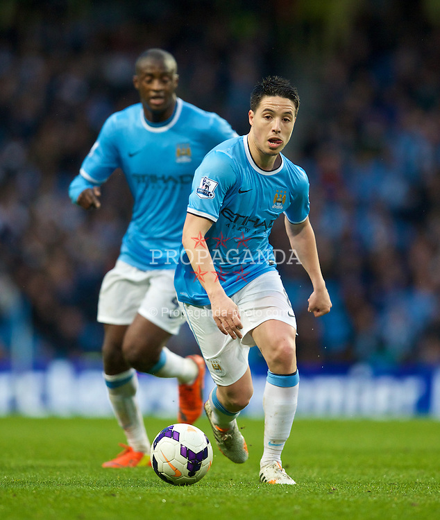 MANCHESTER, ENGLAND - Wednesday, May 7, 2014: Manchester City's Samir Nasri in action against Aston Villa during the Premiership match at the City of Manchester Stadium. (Pic by David Rawcliffe/Propaganda)