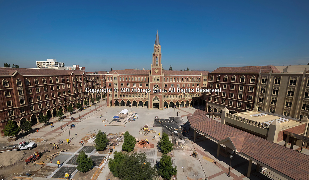 A view of USC's University Village. USC's $700 million shopping and residential complex is nearly complete and more than a dozen retailers (Trader Joe's, Target, Starbucks, etc.) are set to open in August.(Photo by Ringo Chiu)<br /> <br /> Usage Notes: This content is intended for editorial use only. For other uses, additional clearances may be required.