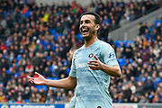 Pedro (11) of Chelsea with a smile on his face during the Premier League match between Cardiff City and Chelsea at the Cardiff City Stadium, Cardiff, Wales on 31 March 2019.