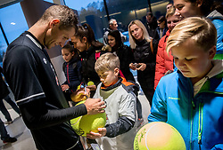 Blaz Rola of Fantazisti with young fans after the friendly football match between NK Fantazisti (SLO) and 1st TFC - First Tennis & Football Club (AUT) presented by professional and former tennis players, on November 25, 2017 in Nacionalni nogometni center Brdo pri Kranju, Slovenia. Photo by Vid Ponikvar / Sportida