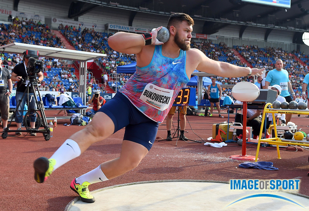 Konrad Bukowiecki (POL) places fourth in the shot put with a throw of 67-9 1/2 (20.66m) during the 56th Ostrava Golden Spike in an IAAF World Challenge meeting at Mestky Stadion in Ostrava, Czech Republic on Wednesday, June 28, 20017. (Jiro Mochizuki/Image of Sport)
