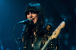 © Licensed to London News Pictures. 07/12/2012. London, UK.   Emma Richardson of Band of Skulls performing live at O2 Academy Brixton. Band of Skulls are an English alternative rock band from Southampton, consisting of Russell Marsden (guitar, vocals), Emma Richardson (bass, vocals), and Matt Hayward (drums).   Photo credit : Richard Isaac/LNP