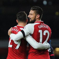 Granit Xhaka and Olivier Giroud of Arsenal celebrate Arsenal's second goal during Arsenal vs Huddersfield, Premier League, 29.11.17 (c) Harriet Lander | SportPix.org.uk