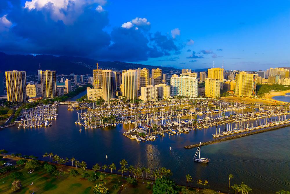 Ala Wai Yacht Harbor with Waikiki in back, Honolulu, Oahu, Hawaii, USA