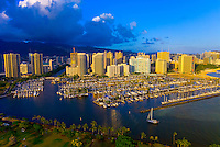 Ala Wai Yacht Harbor with Waikiki in back, Honolulu, Oahu, Hawaii, USA