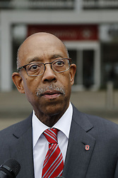 November 28, 2016 - Columbus, OH, USA - Ohio State University president Michael Drake speaks to journalists during a press conference following an attack on campus on Monday, Nov. 28, 2016 outside The Ohio State University Wexner Medical Center in Columbus, Ohio. Nine people were hospitalized after a man ran into pedestrians with his car then exited his vehicle and began cutting victims with a butcher knife. (Credit Image: © Joshua A. Bickel/TNS via ZUMA Wire)
