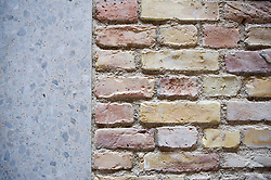 Detail of new brickwork wall and exposed aggregate concrete door suround at recently renovated Neues Museum in Berlin 2009 Architect David Chipperfield