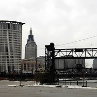 Cleveland, OH from the flats district with the US Federal building and Terminal Tower in background.