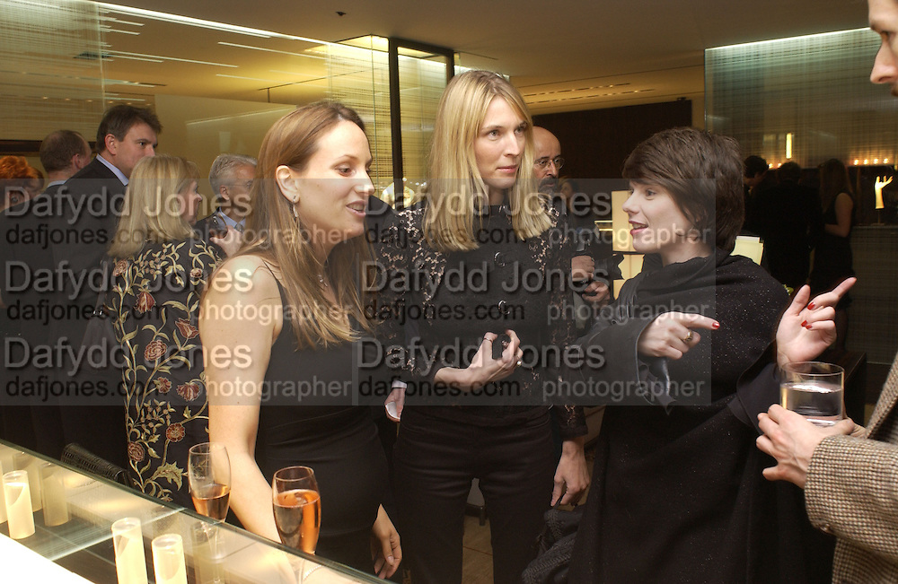 Emily Oppenheim and Laura Montagu. De Beers launch of flagship store and new jewelry range.  New bond St. and afterwards at the In and Out Club. 21 November 2002. © Copyright Photograph by Dafydd Jones 66 Stockwell Park Rd. London SW9 0DA Tel 020 7733 0108 www.dafjones.com