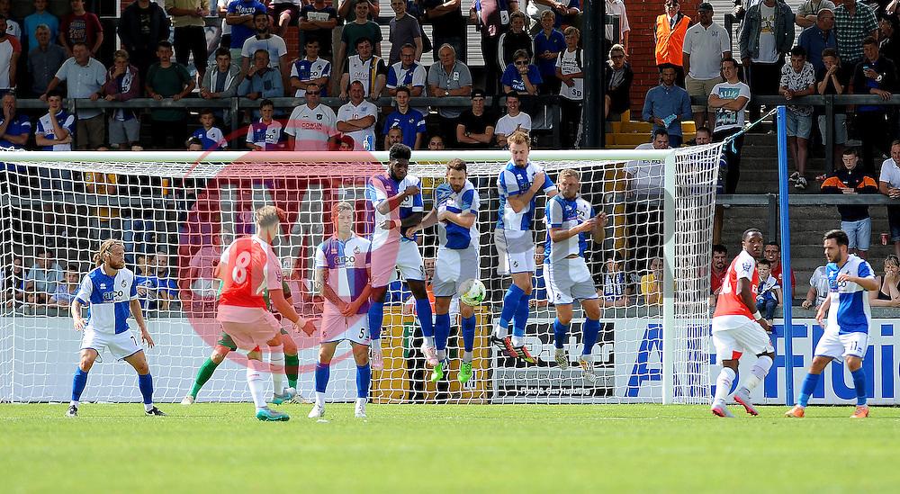 Bristol Rovers defend an Arsenal free kick - Photo mandatory by-line: Neil Brookman/JMP - Mobile: 07966 386802 - 18/07/2015 - SPORT - Football - Bristol - Memorial Stadium - Pre-Season Friendly