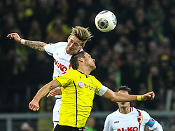 25.01.2014, Signal Iduna Park, Dortmund, GER, 1. FBL, Borussia Dortmund vs FC Augsburg, 18. Runde, im Bild Kopfballduell zwischen Andre Hahn (FC Augsburg #28), Sebastian Kehl (Bor Dortmund, gelb), Aktion, Zweikampf, Hochformat, hoch, vertikal // during the German Bundesliga 18th round match between Borussia Dortmund and FC Augsburg at the Signal Iduna Park in Dortmund, Germany on 2014/01/26. EXPA Pictures &copy; 2014, PhotoCredit: EXPA/ Eibner-Pressefoto/ Krieger<br /> <br /> *****ATTENTION - OUT of GER*****