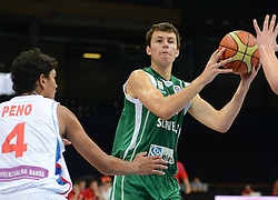 Stefan Peno of Serbia vs Nejc Zupan of Slovenia during basketball match between National teams of Serbia and Slovenia in Division A of U16 Men European Championship Lithuania 2012, on July 21, 2012 in Panevezys, Lithuania. (Photo by Robertas Dackus / Sportida.com)