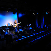 Singer Patty Larkin during the sound and lighting check before her performance at The Loft in Portsmouth, NH