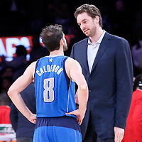 04 April 2014: Dallas Mavericks guard Jose Calderon (8) talks to Los Angeles Lakers center Pau Gasol (16) at the end of the Dallas Mavericks 107-95 victory over the Los Angeles Lakers at the Staples Center, Los Angeles, California, USA.