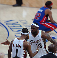 COPYRIGHT DAVID RICHARD.LeBron James has words of wisdom for rookie Daniel Gibson during a timeout in the fourth quarter..Detroit Pistons at Cleveland Cavaliers in Game 6 of the NBA Eastern Conference Finals, June 2, 2007.