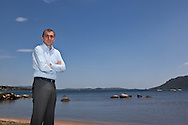 Christophe Angelini, autonomist leader of the PNC in front of Porto vechio bay, Corsica south  /  Christophe Angelini, leader du pati autonomiste PNC devant la baie de Porto vechio, Corse du sud