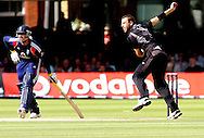 Photo © ANDREW FOSKER / SECONDS LEFT IMAGES 2008  - Daniel Vettori bowls as Owais Shah is at the non-stiker' end -  England v New Zealand Black Caps - 5th ODI - Lord's Cricket Ground - 28/06/08 - London -  UK - All rights reserved