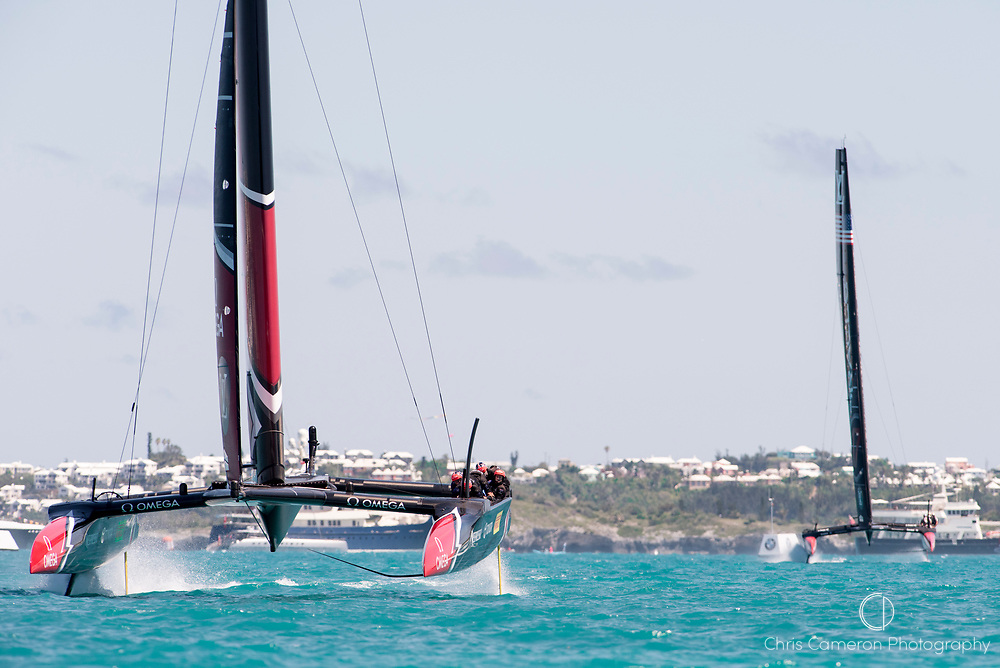 The Great Sound, Bermuda, 25th June 2017. Emirates Team New Zealand on the final leg of race eight against Oracle Team USA. Day four of racing in the America's Cup presented by Louis Vuitton.