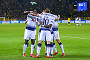 Tottenham Hotspur forward Harry Kane (10) scores a goal and celebrates 0-1 during the Champions League round of 16, leg 2 of 2 match between Borussia Dortmund and Tottenham Hotspur at Signal Iduna Park, Dortmund, Germany on 5 March 2019.
