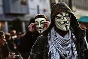 Frankfurt am Main | 18 Mar 2015<br /> <br /> Blockupy-Proteste in Frankfurt am 18.03.2015, hier: Blockupy-Abschlussdemo, es gab auch die unvermeidlichen Guy Fawkes-Masken.<br /> <br /> photo &copy; peter-juelich.com