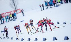 14.12.2013, Nordische Arena, Ramsau, AUT, FIS Nordische Kombination Weltcup, Langlauf Teamsprint, im Bild die Spitzengruppe angeführt von den beiden Norwegischen Teams, Joergen Graabak (NOR) und Magnus Krog (NOR) // Joergen Graabak (NOR), Magnus Krog (NOR) during Team Sprint Cross Country of FIS Nordic Combined <br /> World Cup, at the Nordic Arena in Ramsau, Austria on 2013/12/14. EXPA Pictures © 2013, EXPA/ JFK