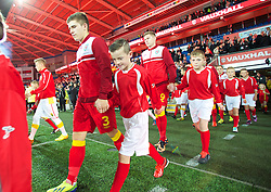 CARDIFF, WALES - Friday, October 11, 2013: Wales' Declan John walks out to face Macedonia during the 2014 FIFA World Cup Brazil Qualifying Group A match at the Cardiff City Stadium. (Pic by David Rawcliffe/Propaganda)