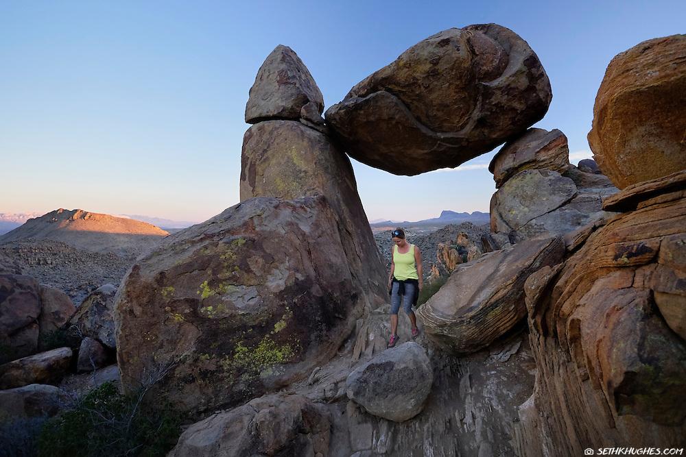 Exploring Balanced Rock in Big Bend National Park, Texas.