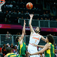 06 August 2012: Spain Juan-Carlos Navarro goes for the floater during 88-82 Team Brazil victory over Team Spain, during the men's basketball preliminary, at the Basketball Arena, in London, Great Britain.