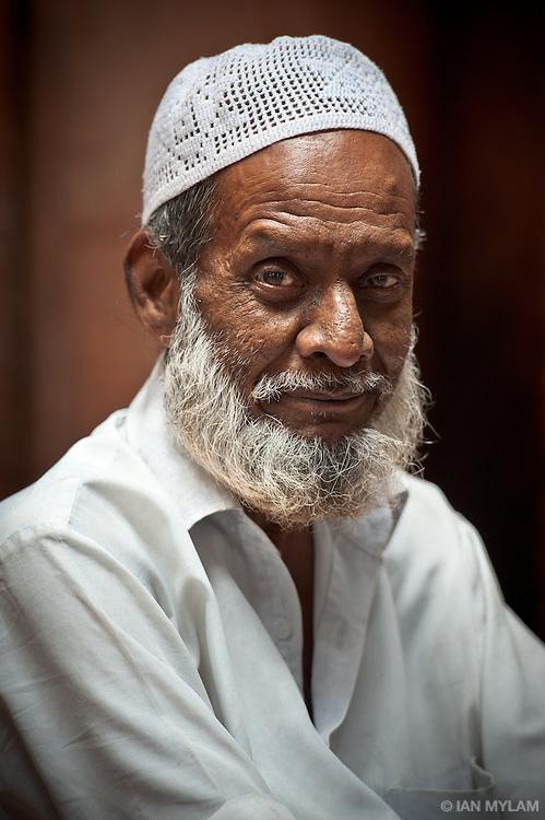 Portrait in Nizamuddin Mosque, Old Delhi, India