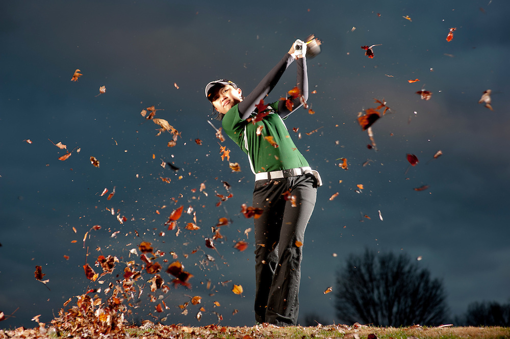 (staff photo by Matt Roth)..Atholton Freshman Bryana Nguyen placed second in the States this year. She is photographed at Hobbit's Glen golf course Wednesday, December 1, 2010.