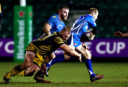 Mike Daniels of Worcester Warriors tackles Sam Hobbs of Newport Gwent Dragons - Mandatory by-line: Robbie Stephenson/JMP - 16/12/2016 - RUGBY - Rodney Parade - Newport, Wales - Newport Gwent Dragons v Worcester Warriors - European Rugby Challenge Cup