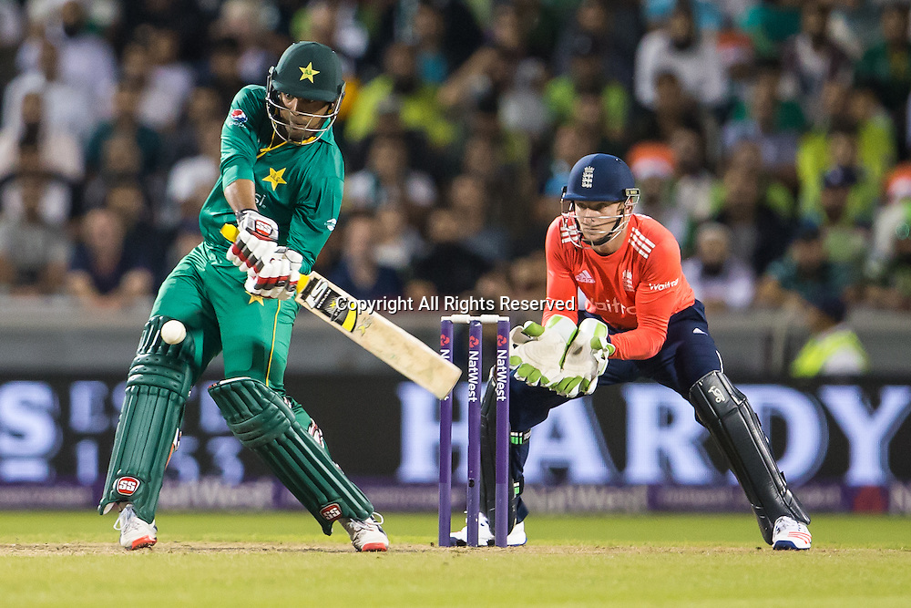 07.09.2016. Old Trafford, Manchester, England. Natwest International T20 Cricket. England Versus Pakistan. Pakistan opening batsman Sharjeel Khan hits out for the boundary