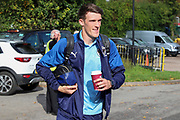 AFC Wimbledon defender Ryan Delaney (21) arriving for the game during the EFL Sky Bet League 1 match between AFC Wimbledon and Portsmouth at the Cherry Red Records Stadium, Kingston, England on 19 October 2019.
