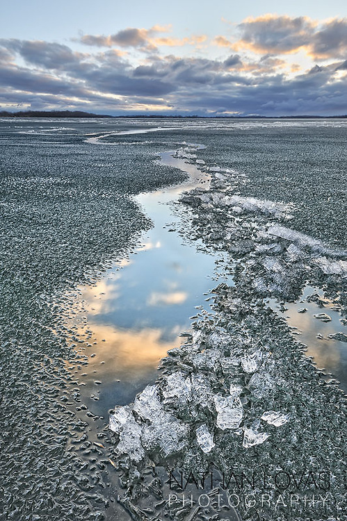 Ice coming off a lake in early spring;  Minnesota.