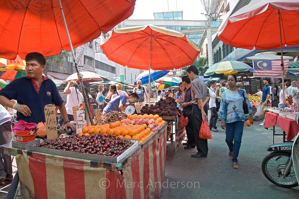 An open air market in Kuala Lumpur, Malaysia..