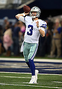 Dallas Cowboys quarterback Brandon Weeden (3) throws a pregame pass before the NFL week 18 NFC Wild Card postseason football game against the Detroit Lions on Sunday, Jan. 4, 2015 in Arlington, Texas. The Cowboys won the game 24-20. ©Paul Anthony Spinelli