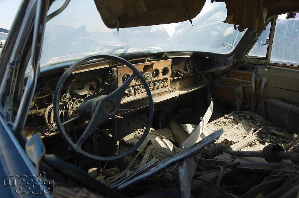 Old broken car interior