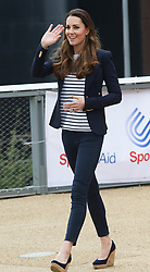 The Duchess of Cambridge leaving a SportsAid Athlete Workshop at the Copper Box, in the Queen Elizabeth Olympic Park in London,  Friday, 18th October 2013. Picture by Stephen Lock / i-Images
