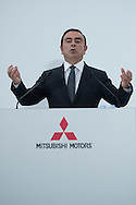 OCTOBER 20: Nissan Motor Co. CEO Carlos Ghosn speaks during a joint press conference with Mitsubishi Motors Corp. CEO Osamu Masuko in Tokyo, Thursday, Oct. 20, 2016. Ghosn said he will become chairman of Mitsubishi Motors, presiding over efforts to turn the troubled automaker around. The Brazilian-born Frenchman, who already heads Nissan and Renault, said Mitsubishi's Masuko would stay on as CEO.20/10/2016-Tokyo, JAPAN