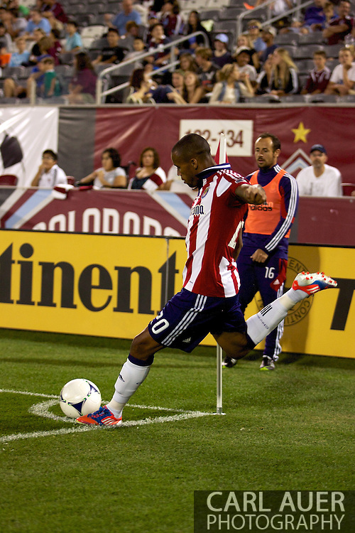 August 18th, 2012: Chivas USA forward Tristan Bowen (20) takes a corner kick in the second half at Dick's Sporting Goods Park against the Colorado Rapids