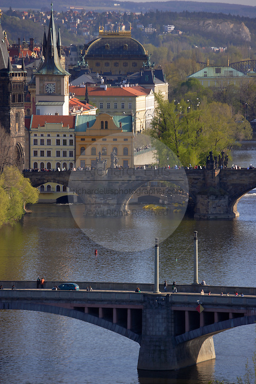 View of the city, the Vltava and bridges of Prague from Letna Park Prague, Czech Republic.