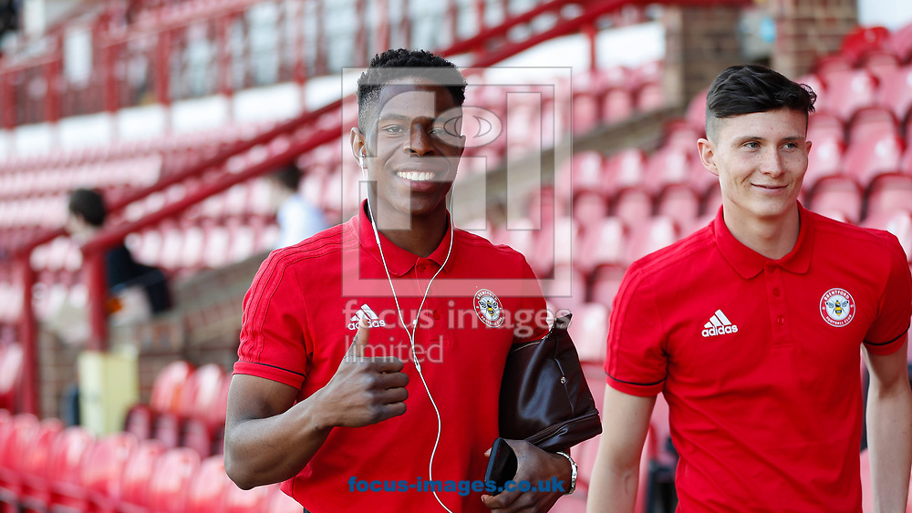 Chiedozie Ogbene of Brentford and Tom Field of Brentford arriving prior to the Sky Bet Championship match between Brentford and Hull City at Griffin Park, London<br /> Picture by Mark D Fuller/Focus Images Ltd +44 7774 216216<br /> 06/05/2018