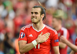 Gareth Bale of Wales celebrates  with the Wales fans after the game  - Mandatory by-line: Joe Meredith/JMP - 25/06/2016 - FOOTBALL - Parc des Princes - Paris, France - Wales v Northern Ireland - UEFA European Championship Round of 16